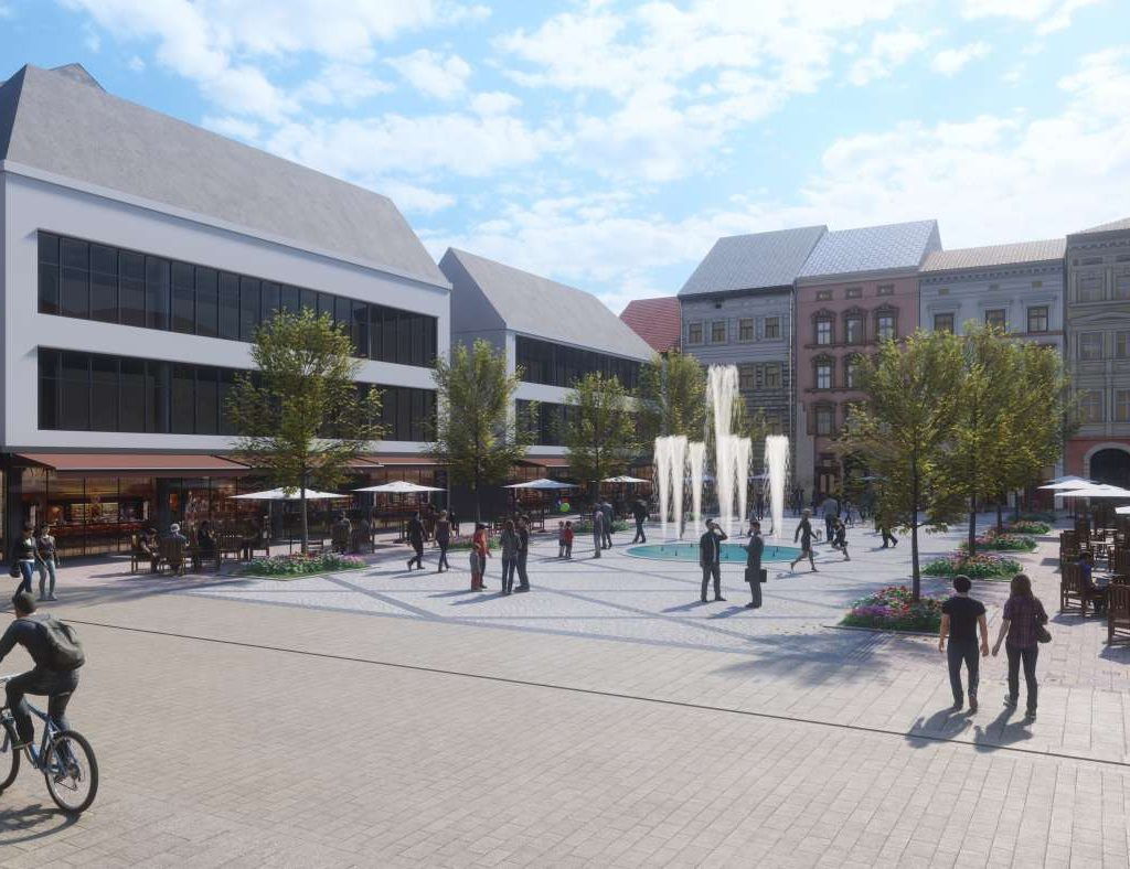 Ein neuer Platz in Wiesbaden mit Springbrunnen, Bäumen und Außengastronomie an Stelle des bisherige Gebäudes in der Langgasse 5-9